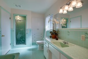 Tropical Full Bathroom with flush light, Paint 1, Built-in bookshelf, Casement, stone tile floors, Shower, Drop-in sink