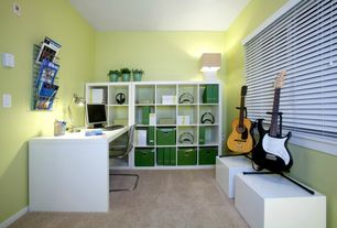 Modern Home Office with Paint, Ikea Tobias Chair Clear, Ikea Kallax Shelving Unit White, High ceiling, Casement, Carpet
