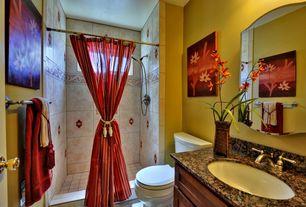 Modern Full Bathroom with Simple Granite, tiled wall showerbath, Undermount sink, Flat panel cabinets