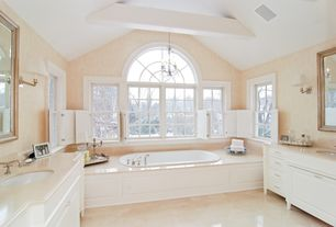Traditional Master Bathroom with Frameless, Soapstone counters, Wall sconce, Arched window, Undermount sink, Master bathroom