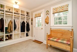 Traditional Mud Room with Window seat, Barnwood deacons bench, Glass panel door, Crown molding, flush light, Concrete tile