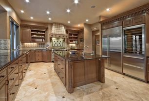 Traditional Kitchen with Undermount sink, Built-in bookshelf, Arizona Tile, Burgundy Series, Porcelain, Kitchen island