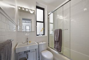 Cottage Full Bathroom with White 3x6 Subway Tile (Rittenhouse Square Arctic White 3 in. x 6 in. Ceramic Modular Wall Tile)