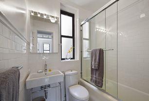 Cottage Full Bathroom with Towel warmer, flush light, Wall Tiles, Full Bath, shower bath combo, Casement, Chair rail