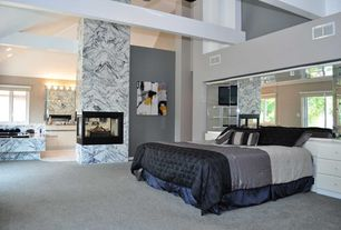 Modern Master Bedroom with interior wallpaper, Wall sconce, Concrete floors, Mural, High ceiling, Milas leylak marble tile