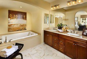 Traditional Full Bathroom with terracotta tile floors, Raised panel, Undermount sink, Powder room, Complex Marble, Frameless