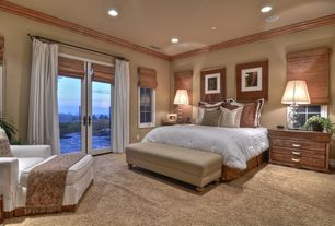 Cottage Guest Bedroom with can lights, specialty window, Sole Designs Brooke Upholstered Storage Bench, Standard height