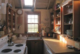 Eclectic Kitchen with Wood plank ceiling (tongue & groove board), Formica counters, Vinyle countertop, Skylight, U-shaped