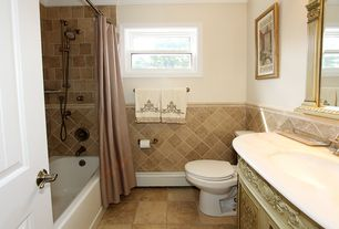 Traditional Full Bathroom with Undermount sink, Simple marble counters, tiled wall showerbath, Vinyl floors