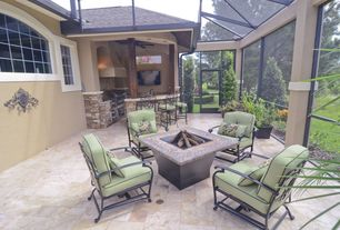 Modern Patio with Outdoor kitchen, Skylight, Raised beds, Fire pit, French doors, Trellis, exterior tile floors
