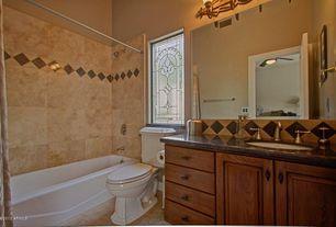 Mediterranean Full Bathroom with Full Bath, Paint, shower bath combo, wall-mounted above mirror bathroom light, Shower