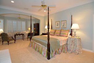 Country Guest Bedroom with Carpet, can lights, Ceiling fan, Casement, Crown molding, Standard height