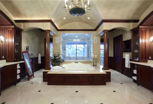 Traditional Full Bathroom with MS International Crema Marfil Classic Marble, Frameless, Chandelier, Raised panel, Columns