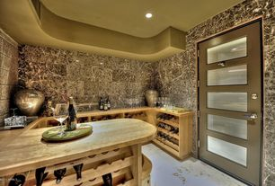 Eclectic Wine Cellar with Glass panel door