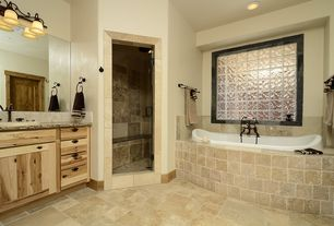 Rustic Master Bathroom with Flat panel cabinets, Stone Tile, Daltile Icescapes Glass Blocks, Complex granite counters