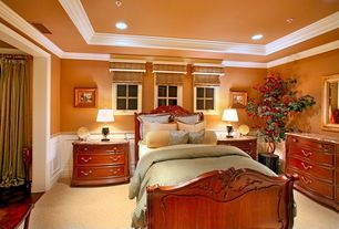 Traditional Master Bedroom with Crown molding, Carpet, Wainscotting