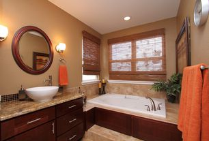 Traditional Master Bathroom with Vessel sink, Complex granite counters, Ceramic Tile, Master bathroom, Wall sconce, Flush