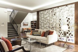 Contemporary Living Room with Wrought iron railing, Coaster Fine Furniture - Coaster End Tables, Open geometric room divider