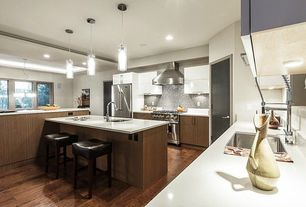 Modern Kitchen with Hickory - Sand Pebble 5 in. Solid Hardwood Wide Plank, U-shaped, Kitchen island, Breakfast bar, Flush