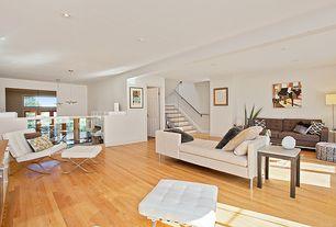 Modern Living Room with Exposed beam, Hardwood floors