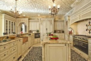 Traditional Kitchen with Ceilume Fleur-de-lis Faux Tin 2 ft. x 2 ft. Lay-in or Glue-up Ceiling Panel, Custom hood, Chandelier