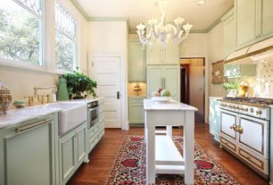 Eclectic Kitchen with Kingston brass ks1272albs heritage deck kitchen pull out spray faucet, Paint, Flat panel cabinets