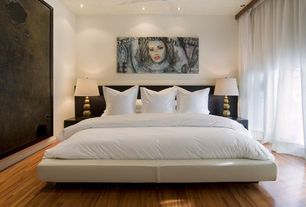 Contemporary Master Bedroom with Visual Comfort Chapman Stacked 1 Light Decorative Table Lamp, Ceiling fan
