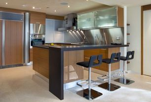 Contemporary Kitchen with Stainless Steel, Simple granite counters, European Cabinets, Flush, U-shaped, Breakfast bar
