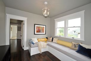 Contemporary Playroom with Parson mini chandelier, Window seat, Hardwood floors, Chandelier