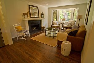 Contemporary Living Room with Crown molding, Cement fireplace, Naimh Ceramic Garden Stool, White, Hardwood floors