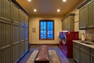 Country Laundry Room with Leather upholstered bench, Laundry pedestal in merlot, Paint, Area rug, Samsung dryer - merlot
