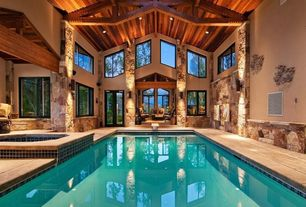 Craftsman Swimming Pool with Indoor swimming pool with hot tub, Exposed ceiling beams, Zillij Tile
