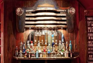 Eclectic Bar with Pottery Barn Griffin Reclaimed Wood Console Table, Reclaimed wood paneling, Reclaimed car grill