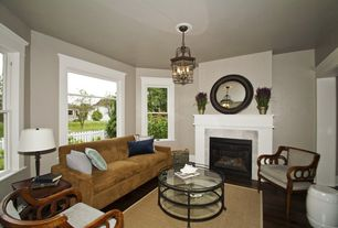 Modern Living Room with Fireplace, Laminate floors, Standard height, double-hung window, other fireplace, picture window
