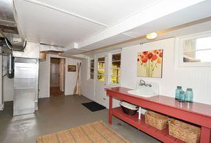 Cottage Basement with Concrete floors, Kouboo rattan utility basket, Glass panel door