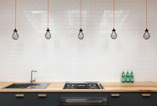 Contemporary Kitchen with One-wall, Contemporary Nickel Brushed Right Angled Heightening Kitchen Faucet, Pendant light