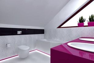 Contemporary Full Bathroom with Frosted glass window, Jablonna project by wamhouse, Duravit Stark 3 Toilet Wall-Mounted