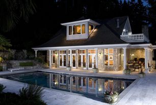 Traditional Swimming Pool with Glass panel door, Transom window, Pathway, exterior concrete tile floors, Deck Railing