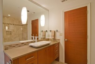 Contemporary 3/4 Bathroom with Powder room, wall-mounted above mirror bathroom light, Stone Tile, Wall Tiles, can lights
