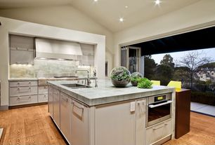 Contemporary Kitchen with Undermount sink, High ceiling, Kitchen island, Complex granite counters, One-wall, Flush