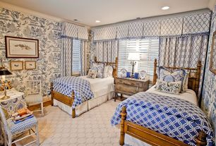 Traditional Guest Bedroom with interior wallpaper, Hardwood floors, Crown molding