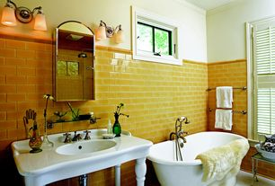 Traditional Full Bathroom with Freestanding, Console sink, Crown molding, Undermount sink, Handheld showerhead, Wall sconce