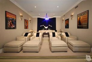 Traditional Home Theater with Recliners, Wayne gretsky, Screening room, Sherwood country club, Wallcovering, Crown molding