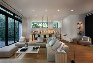 Modern Living Room with Euro Style Teresa Square High-Gloss White Coffee Table, Sliding barn door, L-shaped couch