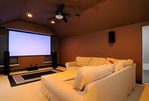 "Modern Home Theater with Ceiling fan, Emerson fans 54"" midway eco 5 blade ceiling fan with remote, Paint, can lights"