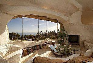 Mediterranean Living Room with Carpet