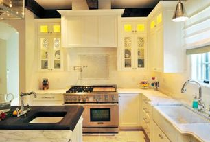 Contemporary Kitchen with slate tile floors, Crown molding, Custom hood, Subway Tile, Kitchen island, High ceiling, One-wall