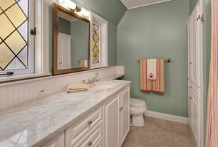 Traditional Full Bathroom with large ceramic tile floors, Stained glass window, Paint 1, Standard height, Built-in bookshelf