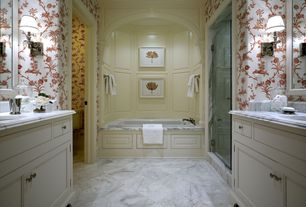 Traditional Master Bathroom with Inset cabinets, Master bathroom, Complex Marble, Crown molding, Flat panel cabinets