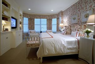 Traditional Master Bedroom with Carpet, interior wallpaper, Built-in bookshelf, Wainscotting, Morgan Duvet Cover